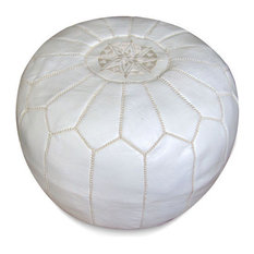 Moroccan Leather Stuffed Pouf, White