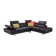 J&M Furniture - A761 Italian Leather Sectional, Black, Right Hand Facing - Sectional Sofas