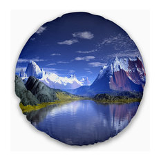 """3D Rendered Mountains and Lake Landscape Printed Throw Pillow, 20"""" Round"""