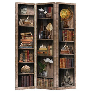 Traditional Folding Room Divider, Solid Pine Wood, Oriental-Asian Design