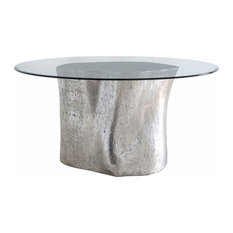 36-inchL Dining Table Log Base 60-inchGlass Top Silver Leaf Resin