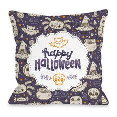 """""""Halloween Friends"""" Indoor Throw Pillow by OneBellaCasa, 18""""x18"""""""