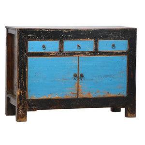 Antique Aqua Blue Solid Hardwood Sideboard