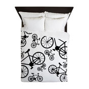 Bicycles Big and Small Queen Duvet by Not Just Shirts