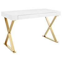 Sector Stainless Steel Office Desk, White Gold