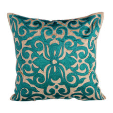 """Pearl & Beige Western Throw Pillows Velvet 20""""x20"""", Loyal To Peacock Green"""