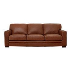 "Hydeline Dillon Top Grain Leather Sofa Collection, Cinnamon Brown, 96"" Sofa"