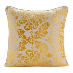 "Mimosa Yellow Decorative Pillows burnout Velvet 20""x20"", Mimosa Yellow Damask"