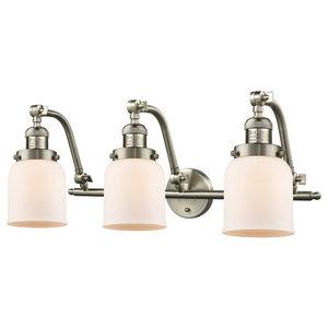 "Brushed Satin Nickel 3-Light 28"" Bath, Vintage Bulbs"