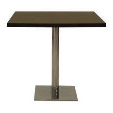 Polo Square Dining Table, Natural Wood Walnut Top With Polished Chrome Base