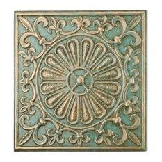 """Regal Art and Gift Glazed Wall Decor 15"""", Green Fleur De Lis"""