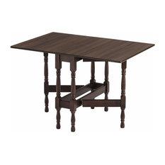 Modern Drop Leaf Table, Walnut Wood With 4 Elegant Legs, Heatproof Tabletop