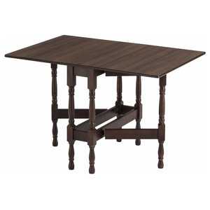 Modern Drop Leaf Table, Walnut Wood With 4 Elegant Legs, Heatproof Tabletop
