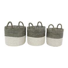 "Set of 3 White Sea Grass Contemporary Storage Basket, 17"", 16"", 14"""