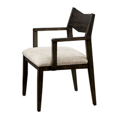 Wooden Arm Chair With Open Back Design Set Of 2 Beige And Brown