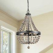 Farmhouse 4-Light Bead Chandelier Lighting, Real Wood Beads