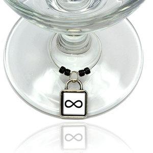 Vintage Letter N Initial Black Tan Wine Glass Drink Marker Charm Ring