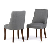 Walden Contemporary Deluxe Dining Chair, Set of 2, Slate Gray Linen Look Fabric