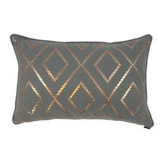 Bazar Metallic Cushion Cover, Grey and Rose