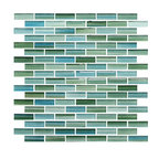 "Rip Curl Green and Blue Hand Painted Glass Mosaic Subway Tile, 12""x12"""