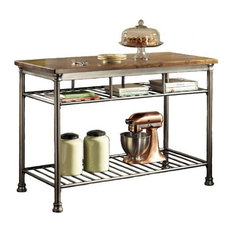 Hawthorne Kitchen Island, Caramel and Gray