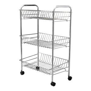 Modern Stylish Storage Basket, 3-Tier and Wheels, Chrome Plated Steel