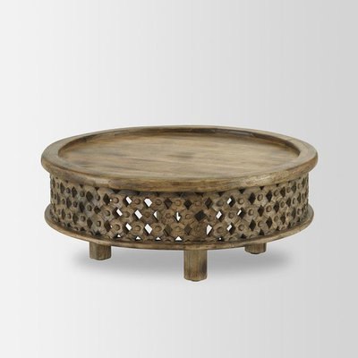 Eclectic Coffee Tables Carved Wood Coffee Table