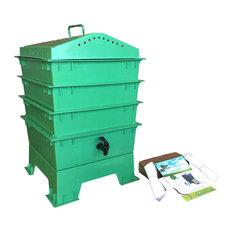 Green Life LLC - 3-Tray VermiHut Worm Bins, Green - Compost Bins