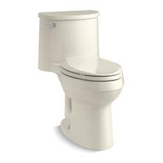 Kohler ADAir 1-Piece Elongated 1.28 GPF Toilet w/ Left-Hand Lever, Biscuit