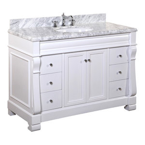 "Westminster Bath Vanity, Base: White, 48"", Top: Carrara Marble"