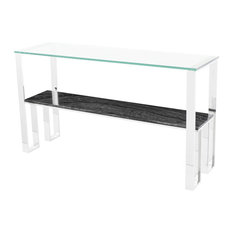 Marble Console Table Glass Top Console Table Modern Entryway Table Black