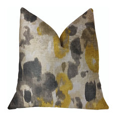 "Pretty Passion Yellow, Beige and Gray Luxury Throw Pillow, 22""x22"""