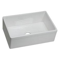 "Elkay SWUF28179WH Fireclay 29-7/8""x19-3/4"" Single Bowl Farmhouse Sink, White"
