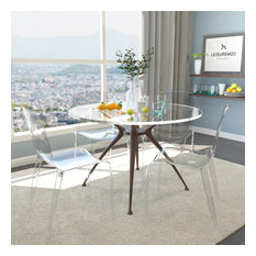 LeisureMod Murray Lucite Stackable Molded Dinin Side Chair, Set of 4, Clear