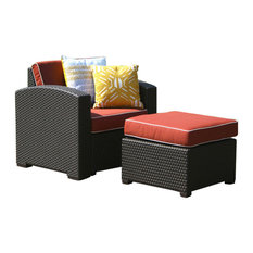 Patio Chair and Ottoman, Brown With Cajun Red Fabric
