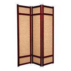 6' Tall Jute Shoji Screen, 3 Panel, Rosewood