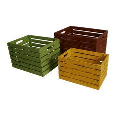 Wald Imports Multi Wood Decorative Storage Crates, Set of 3