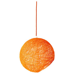 Hemisphere Hanging Globe Pendant Light, Orange, Medium