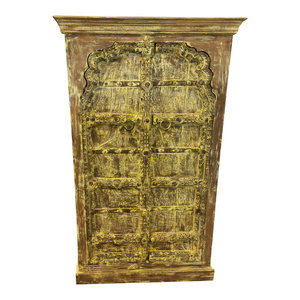 Mogul Interior - Consigned Antique Cabinet, Yellow Rustic Armoire, Mehrab Teak Doors Furniture - Armoires And Wardrobes