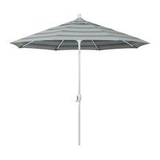9' White Push-Button Tilt Crank Aluminum Umbrella, Gateway Mist Sunbrella