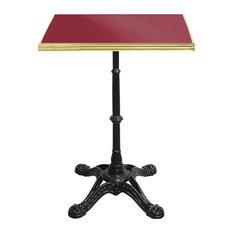 Square Enamel Bistro Table, Red, Brass Rim, Small