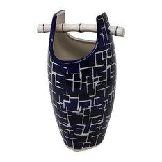 "Sagebrook Home Blue/White Bamboo Handle Vase, 10.25"""