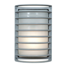 """Bermuda LED Outdoor Bulkhead Wall-Light, 11"""", Ribbed Frosted Glass Shade, Satin"""