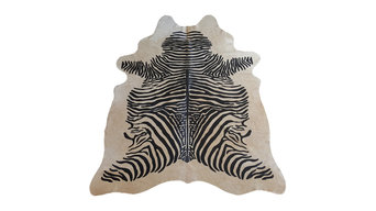 Brazilian Cowhide Rug Zebra Black Stripes Off White, 5'x7'