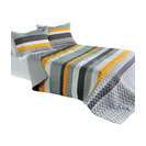 Modern Life Cotton 3PC Vermicelli-Quilted Striped Quilt Set (Full/Queen Size)
