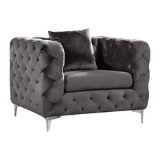 Meridian Furniture - Scarlett Gray Velvet Chair - Armchairs and Accent Chairs