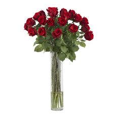 Rosebud w Cylinder Silk Flower Arrangement