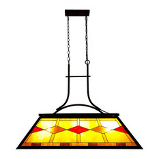 Billiard Hanging Lighting Fixture With Stained Glass Shade
