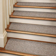 House Home U0026 More   Set Of 15 Tape Down Carpet Stair Treads Pebble Beige