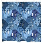 Wall Of Walrus Shower Curtain 71x74